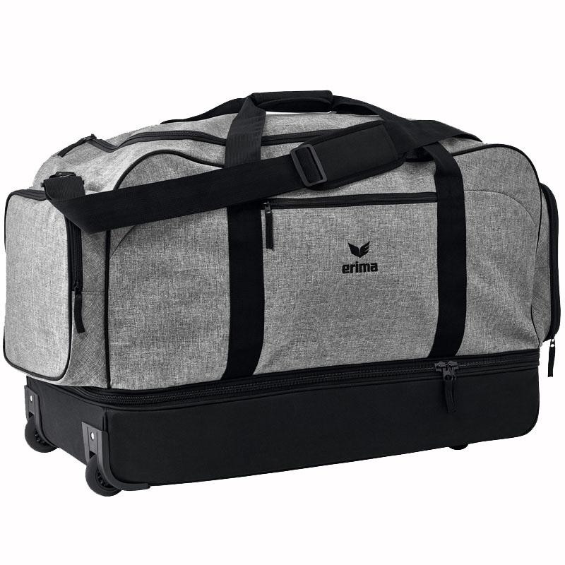 4368d4a856317 erima Sporttasche Trolley - mit Bodenfach grau melange schwarz